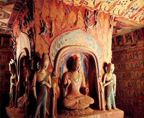 Buddha Maitreya and Attendants, Cave 248, Western Wei Dynasty, around 450 AD