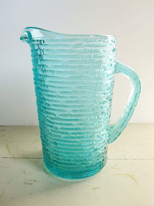 "An Aqua Blue Textured Mini-Pitcher Only 7"" Tall - Too Cute - Bark Texture - Pitcher - Mint"