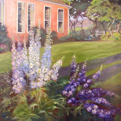 Large flower Original Oil painting garden landscape Delphiniums floral/flowers impressionism fine art 24 x 24
