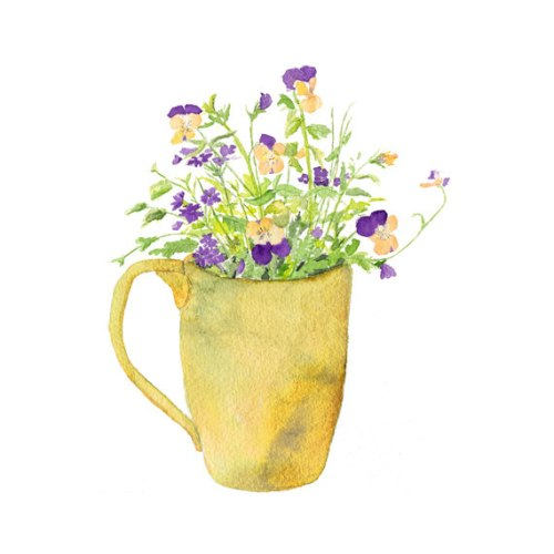 Sweet Flower Bouquet - Violas and Verbena - Spring, Summer, Garden, Pansies, Floral - Print of watercolor painting