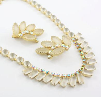 White Frost & Aurora Borealis Rhinestone Vintage Necklace and Earrings.