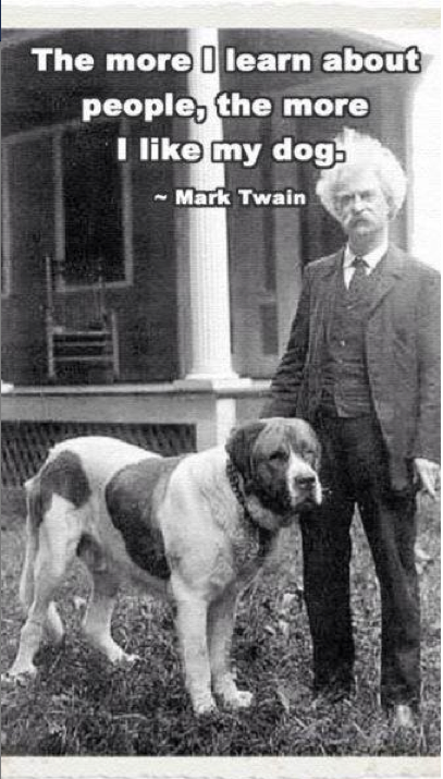 Mark Twain loves his dog