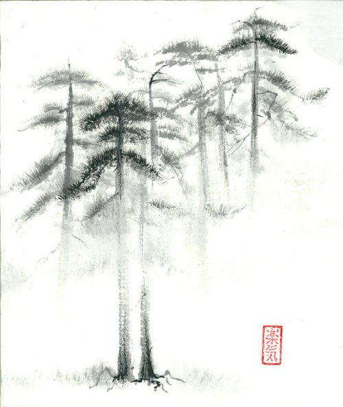 "Original Sumi-e Paintings ""Pine trees in fog"" - Set of 2 - Japanese art - Wall decor - ink wash - bamboo brash"